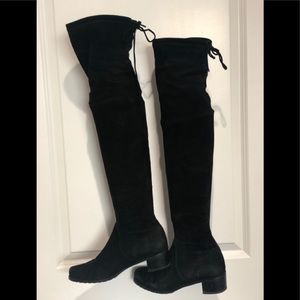 Black Suede Above-Knee High Boots